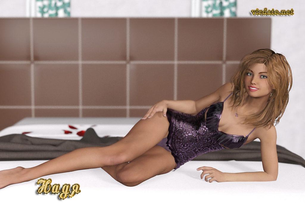 Девушка Нади позирует на фотосессии лежа на кровати