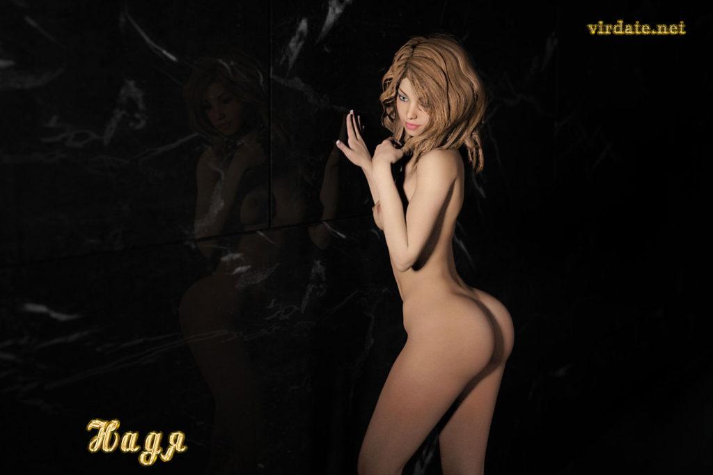 Обнаженная девушка Нади позирует на фотосессии напротив черной зеркальной стены