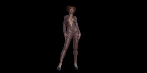 Черная сексуальная девушка в кожаном костюме стоит и ждет тебя