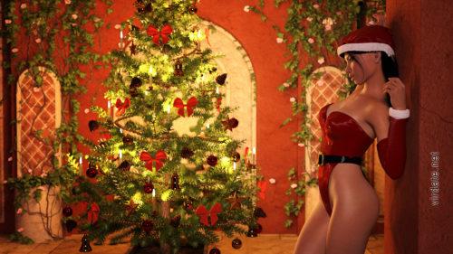 Девушка Адриана Флака в сексуальной новогодней одежде стоит у стенки